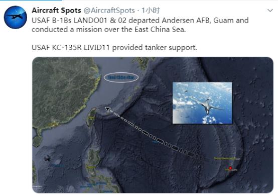 """美军战略轰炸机""""路过""""台湾奔东海"""
