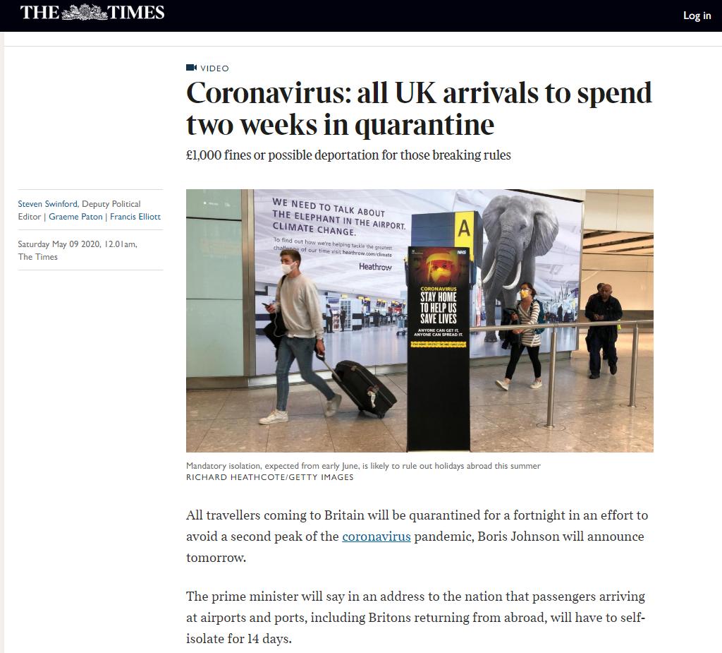 【huobi】_英国6月8日起所有入境旅客必须隔离14天