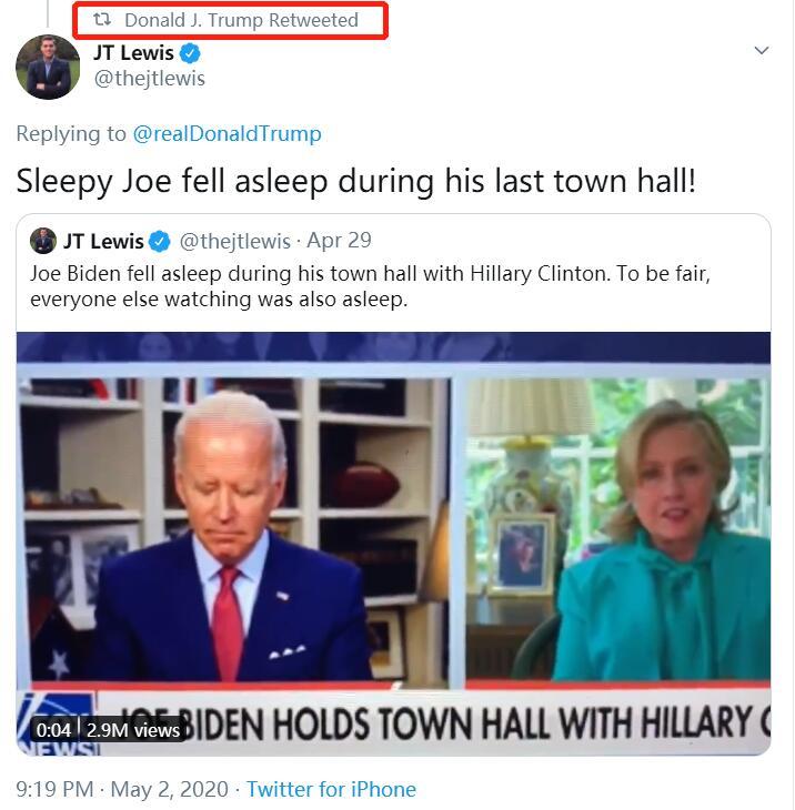 拜登与希拉里连线时睡着了?特朗普转推视频(图)