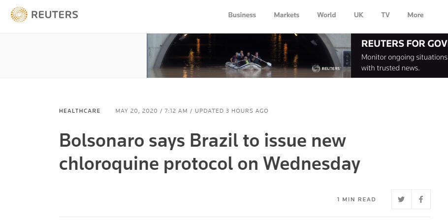 紧跟特朗普 巴西总统推广用氯喹治疗新冠肺炎