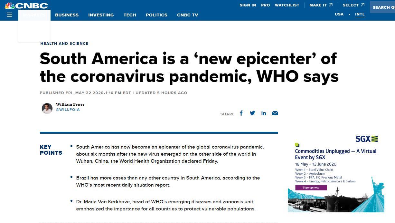 【deepbit】_世卫组织:南美成为疫情新震中