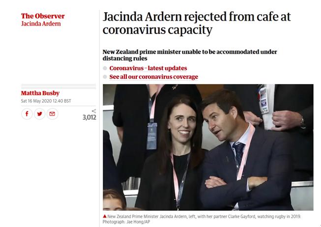 """尴尬!新西兰总理""""下馆子""""用餐竟被拒之门外(图)"""