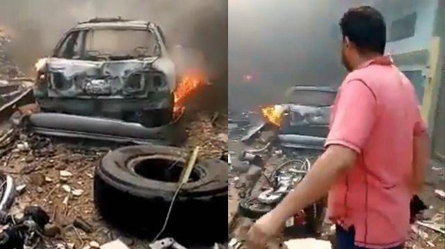 巴基斯坦一架客机在居民区坠毁 当地民众组织救援