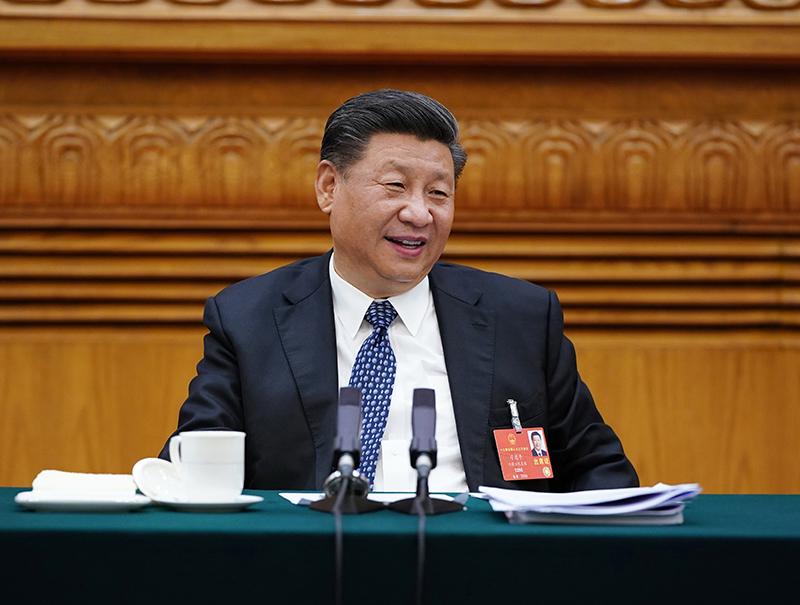 5月24日,中共中央总书记、国家主席、中央军委主席习近平参加十三届全国人大三次会议湖北代表团的审议。