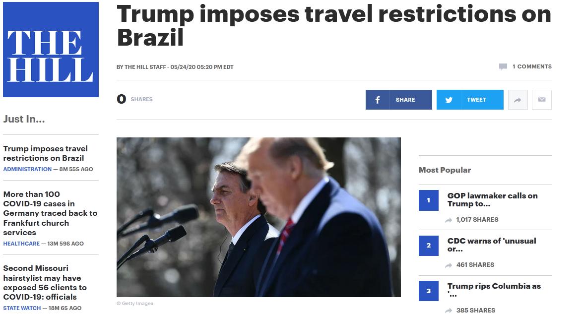 白宫对巴西实行旅行禁令插图