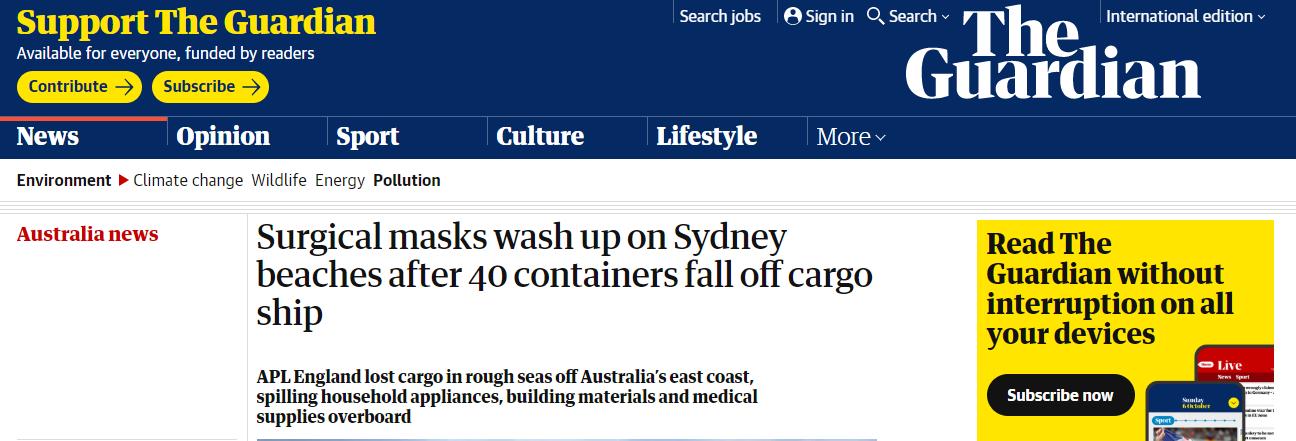 【huobi】_从中国驶往澳洲的货轮遇巨浪:40个集装箱落水,口罩被冲上海滩