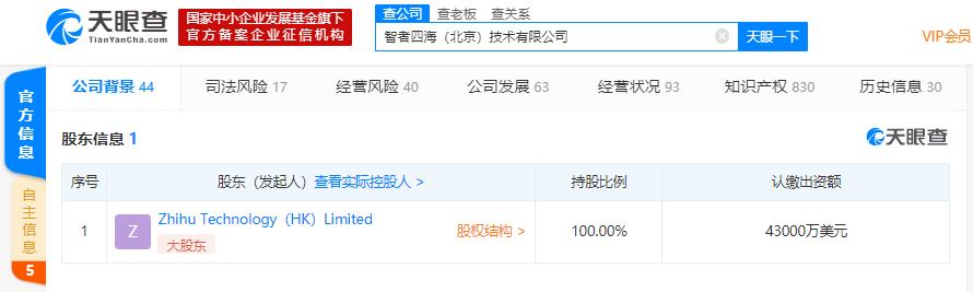 知乎关联公司注册资本增至4.3亿元,增幅为13.16%