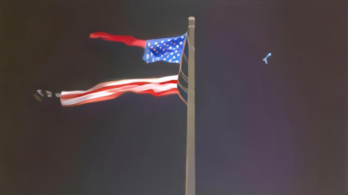 暴雨中,美国最大的一面悬挂式国旗被撕成两半