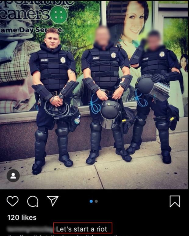 """【优化论坛】_发照片配文""""发动暴乱"""",一美国警察被解雇"""
