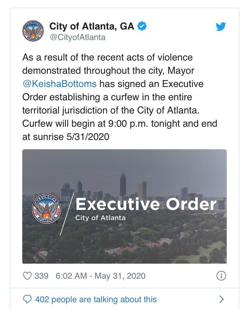【比特币交易】_亚特兰大市长宣布实施宵禁