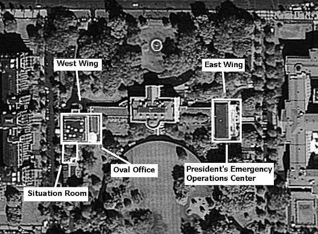 白宫地下掩体示意图。/太阳报网站截图