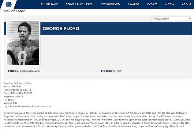 美国前职业橄榄球运动员乔治·弗洛伊德个人资料