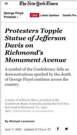 """【刷空间访问量】_美国又一座雕像被推倒:这次是南方邦联第一位""""总统"""""""