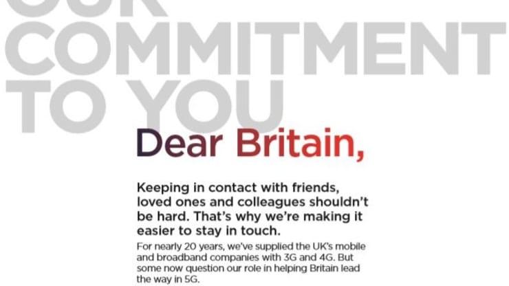 华为在多家英国报纸买下整版广告 回击5G安全担忧