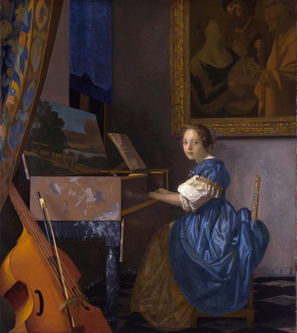 《坐在维金纳琴旁的年轻女子》,维米尔