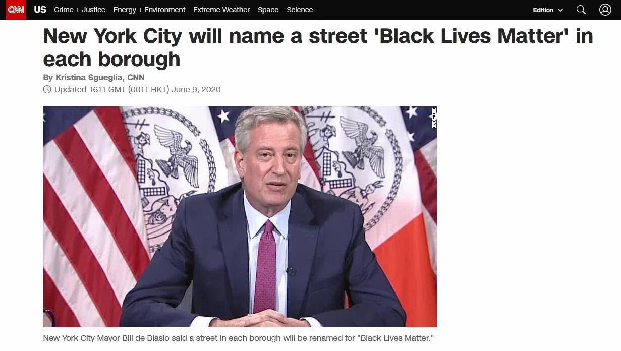 """【谷歌权重查询】_纽约市长:各行政区都有一条街将被命名为""""黑人的命也是命"""""""