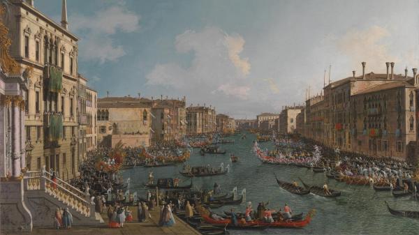《威尼斯:大运河上的划船比赛》,卡纳莱托