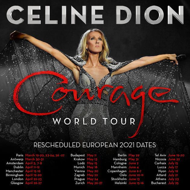 席琳・迪翁巡演欧洲站明年重启 已购票观众可改期