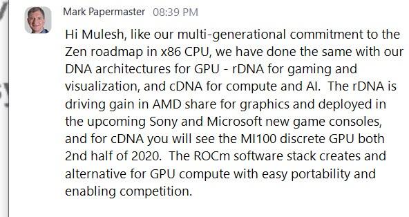AMD 方面确认下半年推出代号大角星的 MI100 加速卡