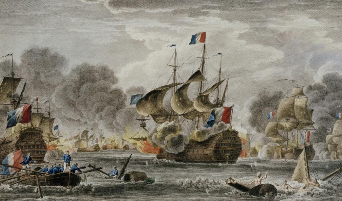 """比奇角海战是""""英法大同盟战争""""又叫""""九年战争""""期间的一次海战。 法国18世纪的航海绘图师尼古拉·奥扎纳绘制的《比奇角海战》收藏于格林尼治皇家博物馆。"""