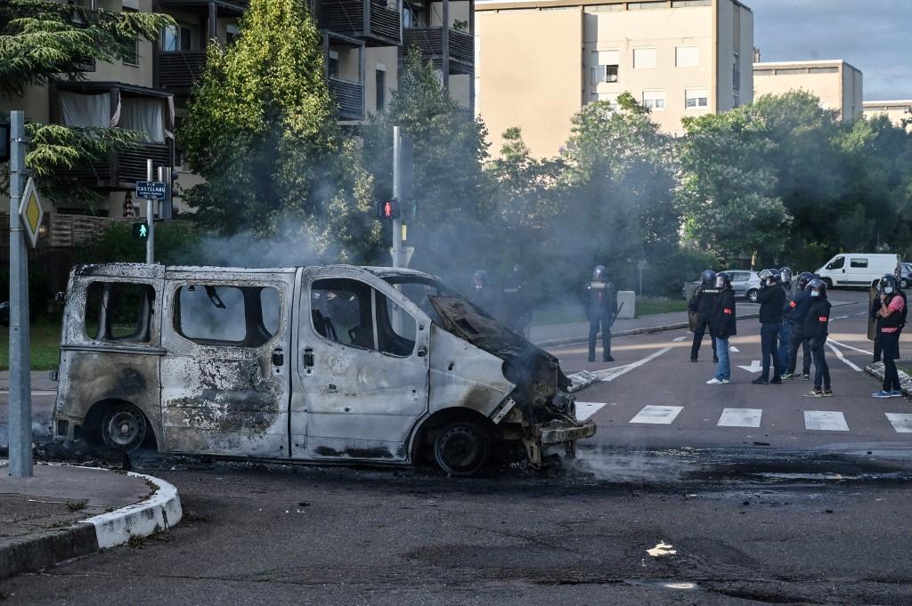 第戎冲突过后的街道。法新社 图