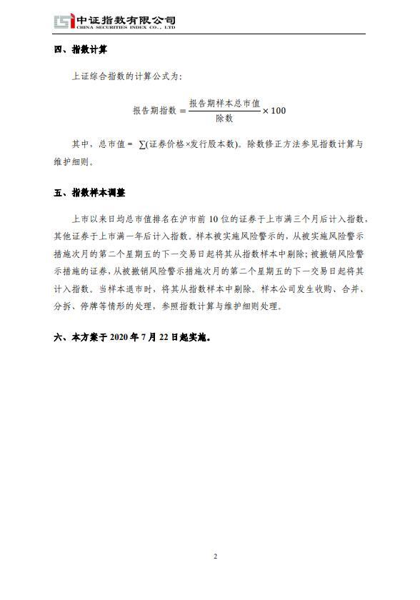 上交所发布关于修订上证综合指数编制方案
