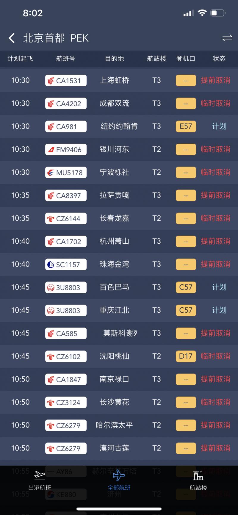 最新!北京两机场共取消航班达1255架次
