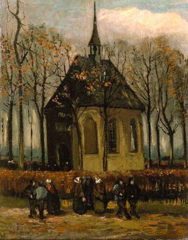 2002年,达勒姆盗走的两件梵高作品之一——《离开纽南教堂的信众》