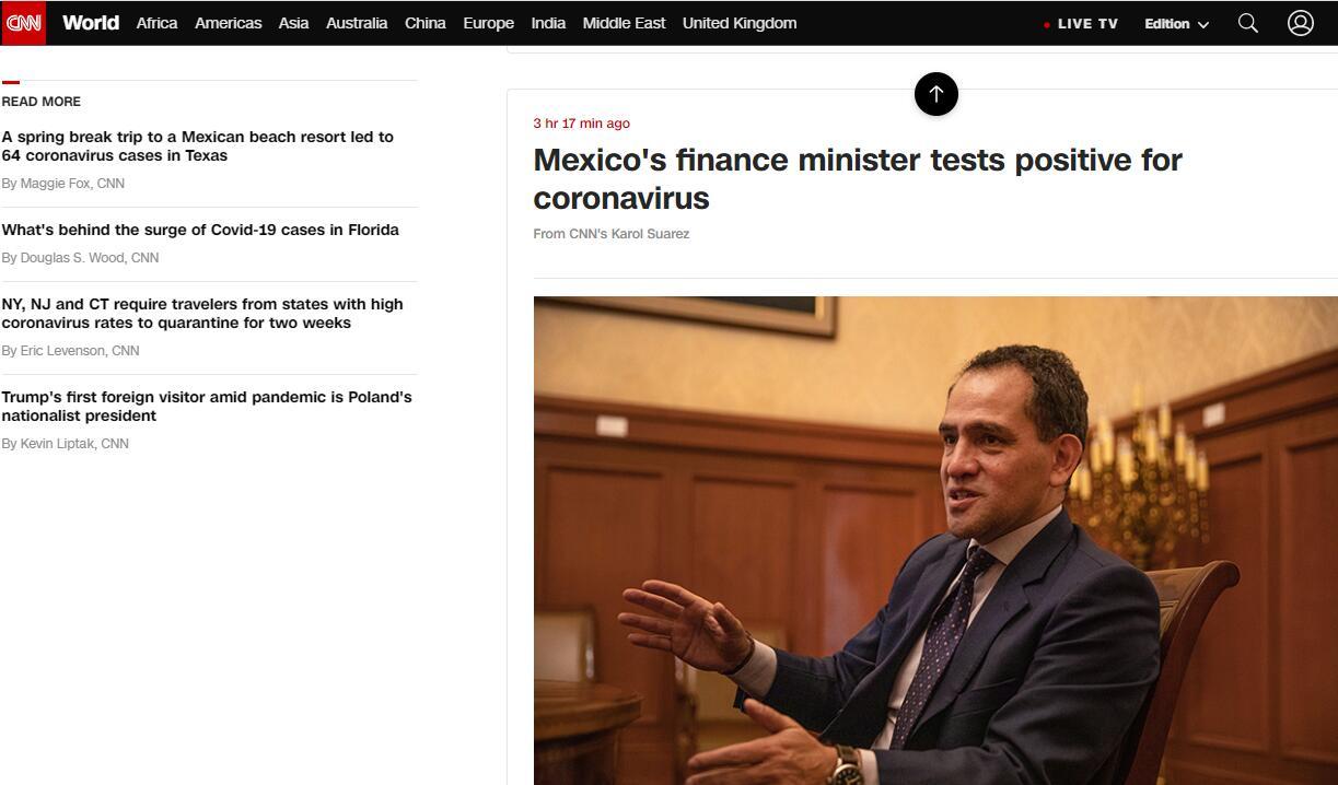 CNN:墨西哥财政部长新冠病毒检测结果呈阳性