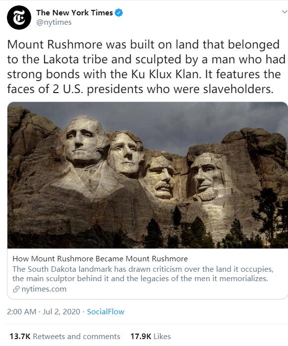 """【大爸爸】_《纽约时报》扒了一圈总统山的""""黑历史"""",美国白人全炸锅了"""
