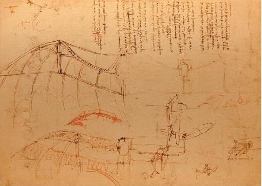 达·芬奇在《大西洋古抄本》里设计的一种飞行器。