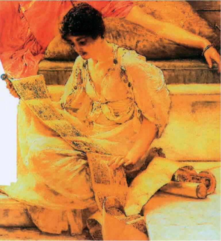古人正在阅读莎草纸卷(全卷共 20 张纸页)。