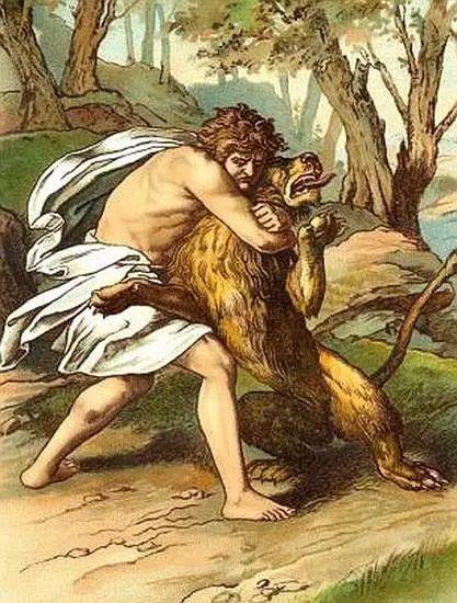 《圣经》故事中与狮子搏斗的参孙