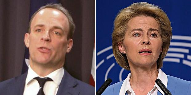 英国外交大臣拉布(左)与欧盟委员会主席冯德莱恩(右)