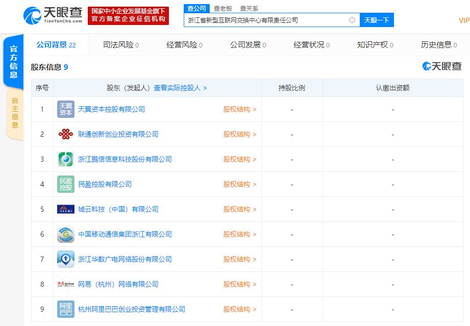 网易、联通、中移动、阿里巴巴等共同在浙江成立新公司