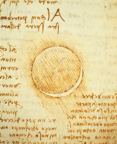 """达·芬奇在笔记中画下了日食时的场景。图源:""""欧洲文艺复兴大师""""书系之《达·芬奇》"""