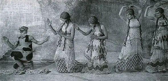 梅耶,尼金斯基与山林女神,取自《牧师之午后》,1912