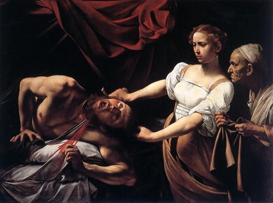"""《朱迪斯杀死荷罗孚尼》 图源:""""欧洲文艺复兴大师""""书系之《卡拉瓦乔》"""