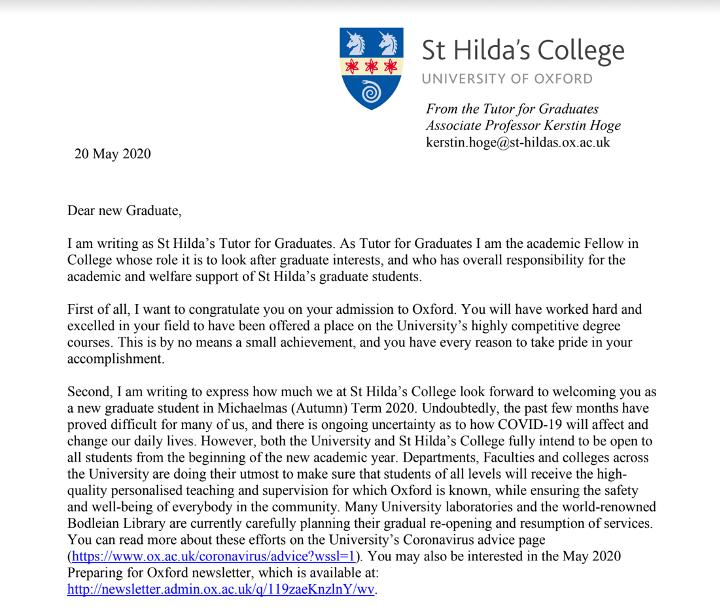 牛津大学圣希尔达学院的资深导师Kerstin Hoge给笔者的署名信