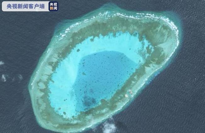 △簸箕礁,位于南沙群岛中南部,属于小型封闭型干出环礁(高分二号卫星影像)