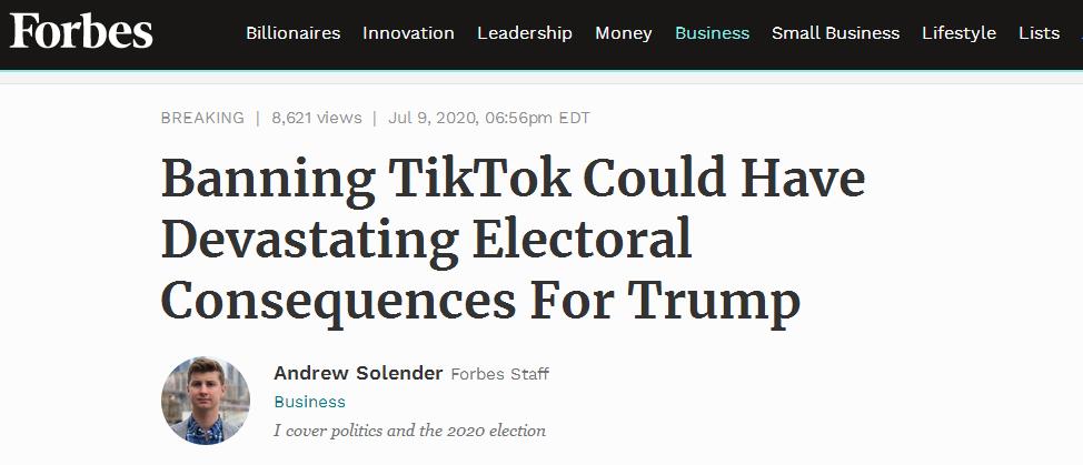【谷歌网络推广】_封杀TikTok?美媒警告:或给特朗普竞选带来灾难性后果
