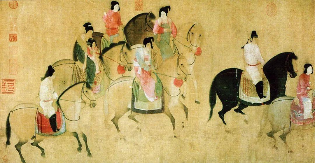 唐·张萱《虢国夫人游春图》,画中女性已不再佩戴遮面的幂篱