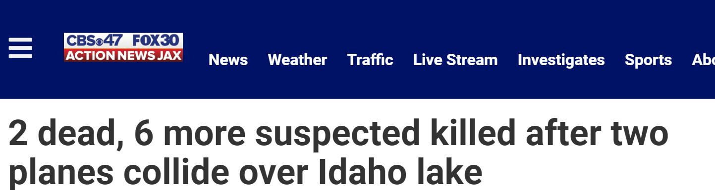 【黑钻官网】_两架飞机在美国爱达荷州上空相撞,2人死亡6人失踪疑似死亡