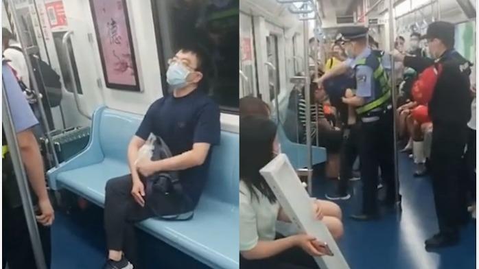西安地铁一男子拒扫健康码 警察喷辣椒水强制带走