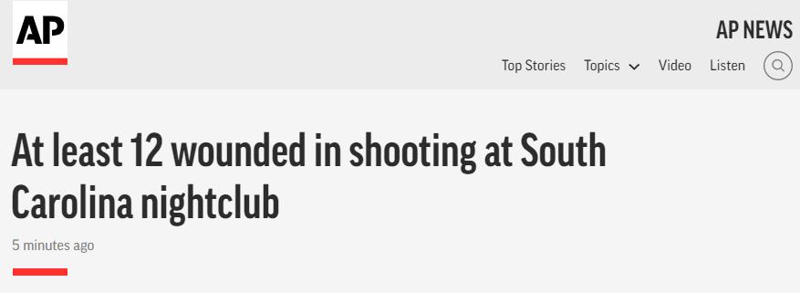 【更新带动器】_美国南卡罗来纳州一家夜店突发枪击事件 至少12人受伤