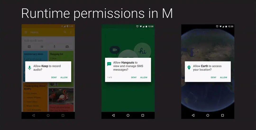 Android M 开始引入权限弹窗
