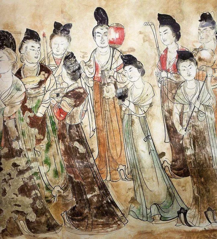 永泰公主墓壁画局部,可以看到许多穿着袒领襦装的女性画像
