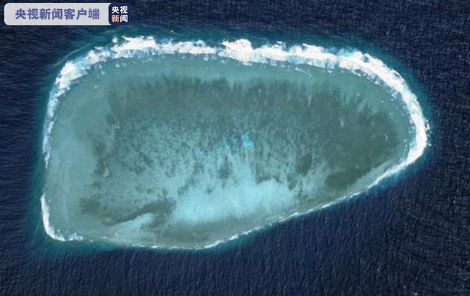 △南通礁,位于南沙群岛中南部,属于独立发育的小型低潮高地台礁(高分二号卫星影像)