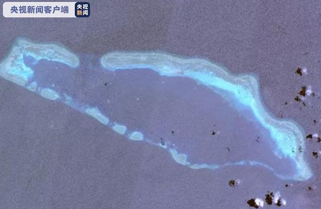 △六门礁,位于南沙群岛东北部,属于中型半开放型干出环礁(高分二号卫星影像)
