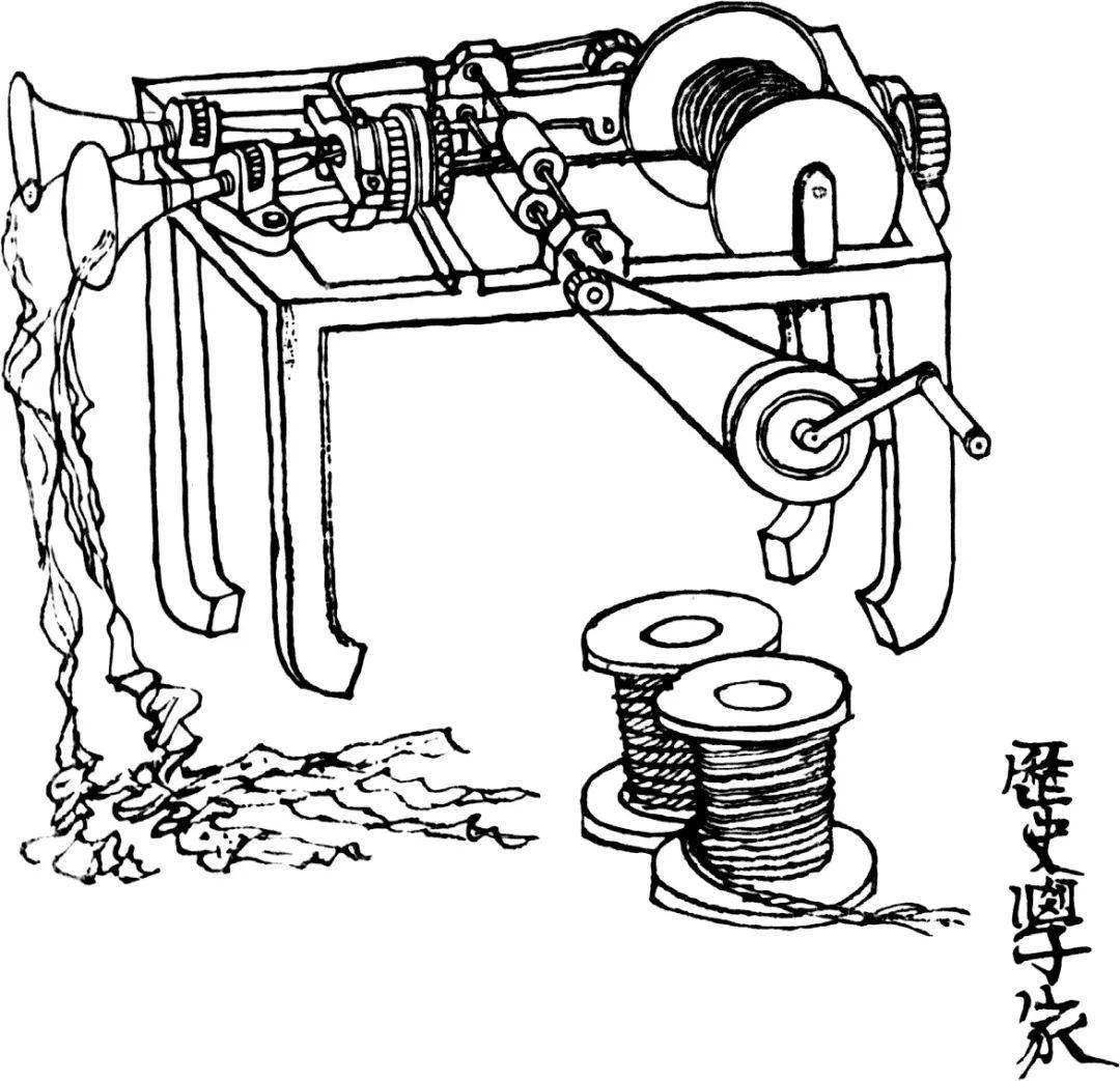 这是一台特制的制作纸绳子的机器。将写有书法文字的宣纸、报纸、布条等放入,启动机器这些材料就会被编织成一条长长的绳子。